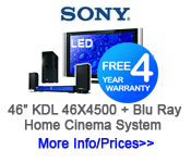 "Sony KDL-46X4500 46"" LED TV + Blu Ray home System"
